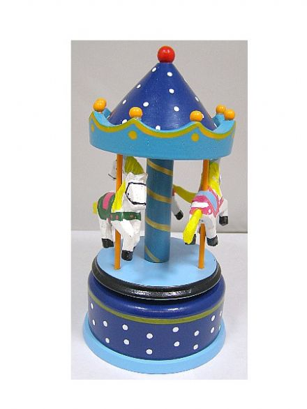 Wooden Music Box Carousel 16002